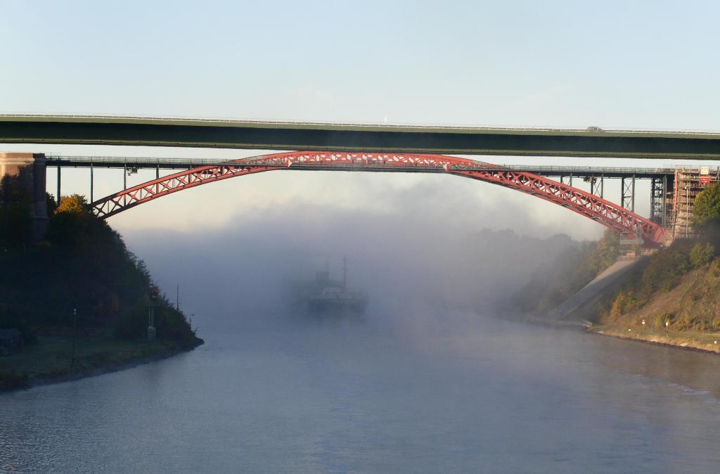 Levensauer bridge with fog